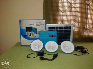 Solar Lighting System with 3 LED Lights and mobile charging