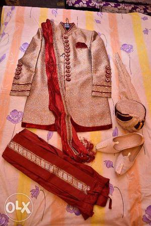 Manyavar Sherwani with Dhoti and duppatta