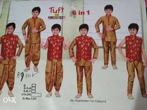 6 in 1 traditional kurta set for 7-9 years old