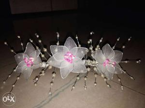 White Mesh Flowers Tiara