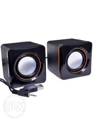 Two Black Computer Speakers