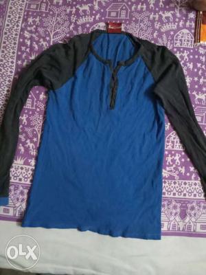 Blue And Black Raglan Shirt