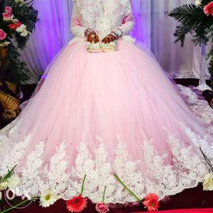Women's White And Pink Floral Wedding Gown