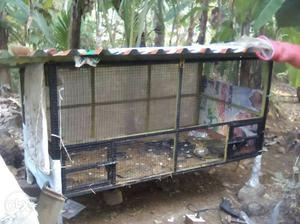 Black Metal Framed Chicken Coop