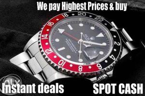 We buy old watches,spot cash Rolex Omega Patek etc
