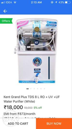 White And Blue Kent Grand Plus TIDS 8 L + UV + UF Water