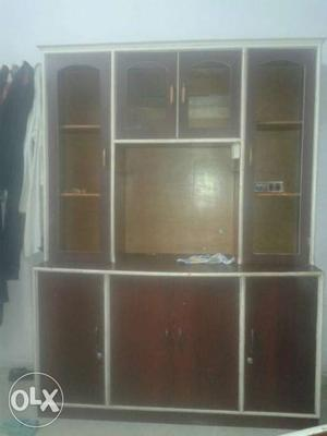Brown And White Wooden Cabinet With Hutch