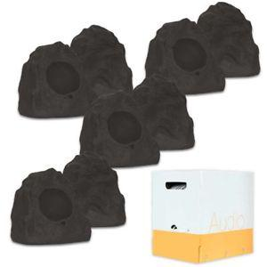 Theater Solutions 8R4L Outdoor Lava Rock 8 Speaker Set with