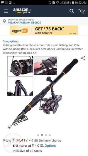 Black Fishing Rod Reel Combos Carbon Telescopic Fishing Rod