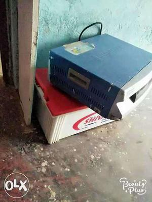 Blue And Gray Power Inverter With Battery