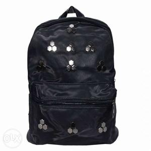 Black leather ruff backpack bags for girls to