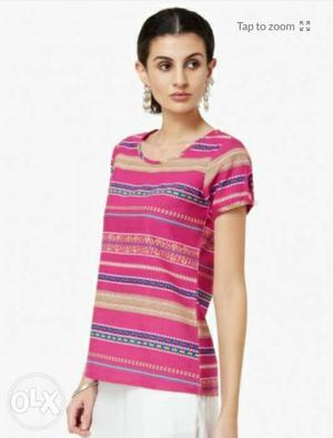 New Melange Color me printed round neck top from Lifestyle