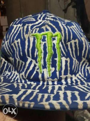 Blue And White Monster Energy Embroidered Fitted Cap