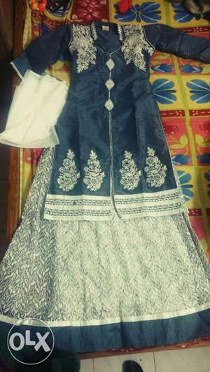 Very beautiful new silver and grey Indo Western