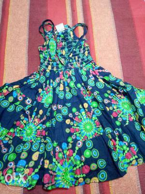 Blue, Green, And Pink Floral Sleeveless Dress