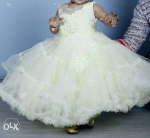 Girl's Light Lemon Colour Sleeveless Gown