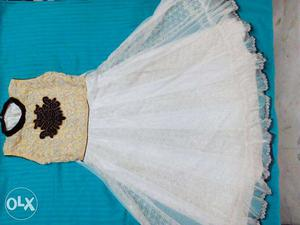 New white and beige girls party wear gown(6-8 years size)