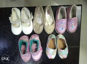 Set of 5 girl shoes 3-5 yrs age Casual, party, light in good