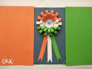 This is a handmade Indian tricolor badge