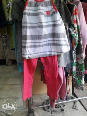 Toddler's Red And Gray Top