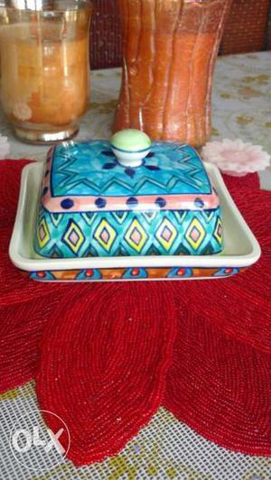 Butter Dish Ceramic Hand Painted Butter Dish.