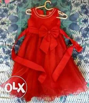 New year price..Girl's Red Sleeveless party dress for 7 to 8