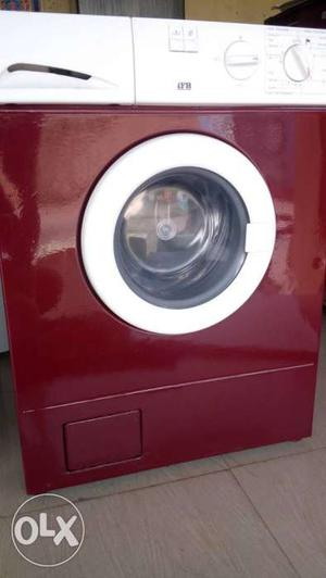 Red And White Front Load washing machine Clothes Dryer with
