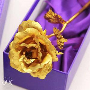 24K Yellow Rose Flower