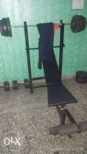6 in 1 gym bench + 32 kg weight + 2 dumble rod +