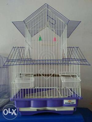White And Purple Steel Birdcage