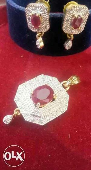 Gold Plated American Diamond Pendant Set,each