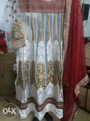 Pure white anarkali with red duppata n santoon