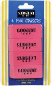 - Sargent Art Large Pink Erasers 4/Pkg