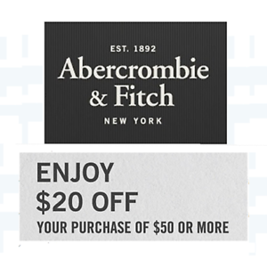 $20 off $50 Abercrombie & Fitch Coupon Promo Code CLEARANCE