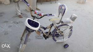 Toddler's Blue And White Bicycle With Training Wheels