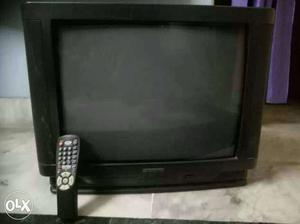 Black Crt Tv With Remote Controll