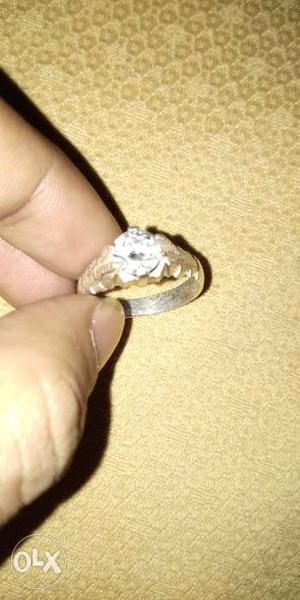 Pure silver ring american diamond