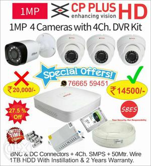 Special Offer CP Plus HD CCTV 4 Camera Full