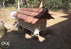 White And Brown Wooden Chicken Coop