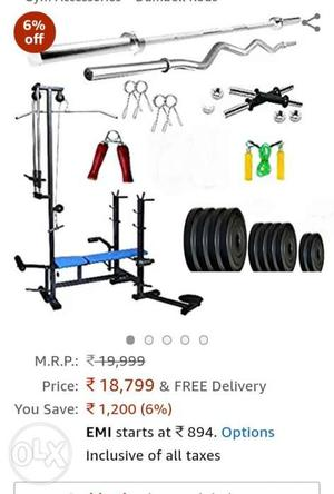 20 in 1 home gym set with 50 kg PVC coated