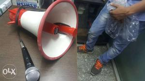 White And Red Megaphone With Black Dynamic Microphone