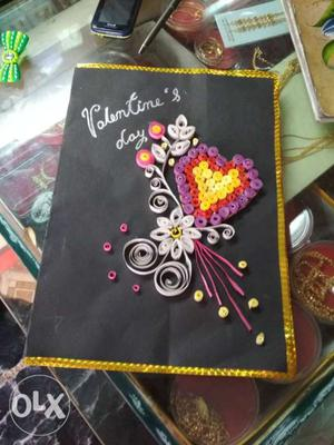 Black And Multicolored Valentine's Day Quilled Paper Floral