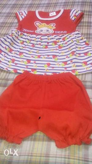 Girl's Red And White Floral Top And Red Shorts