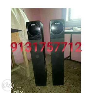 Two Black Intex Tower Speakers