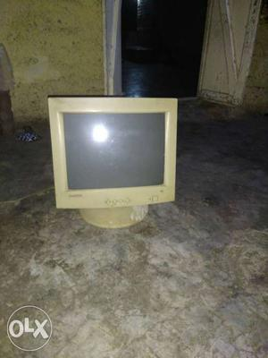 White CRT TV With Remote