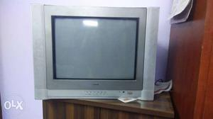Aiwa Gray CRT TV With Remote, in working condition.