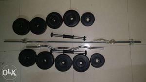 22kg home gym set 1 barbell rod - 4ft 1 inclined