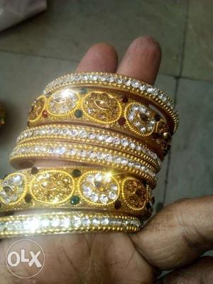 Gold-colored Clear Gemstone Encrusted Bangle Lot