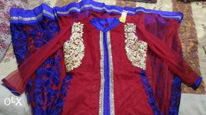 Women's Maroon and blue salwar or long gown..