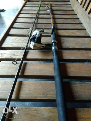 Black And Brown Fishing Rod With Fishing Reel